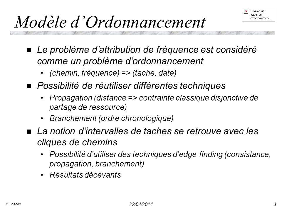 Y. Caseau 22/04/2014 4 Modèle dOrdonnancement n Le problème dattribution de fréquence est considéré comme un problème dordonnancement (chemin, fréquen
