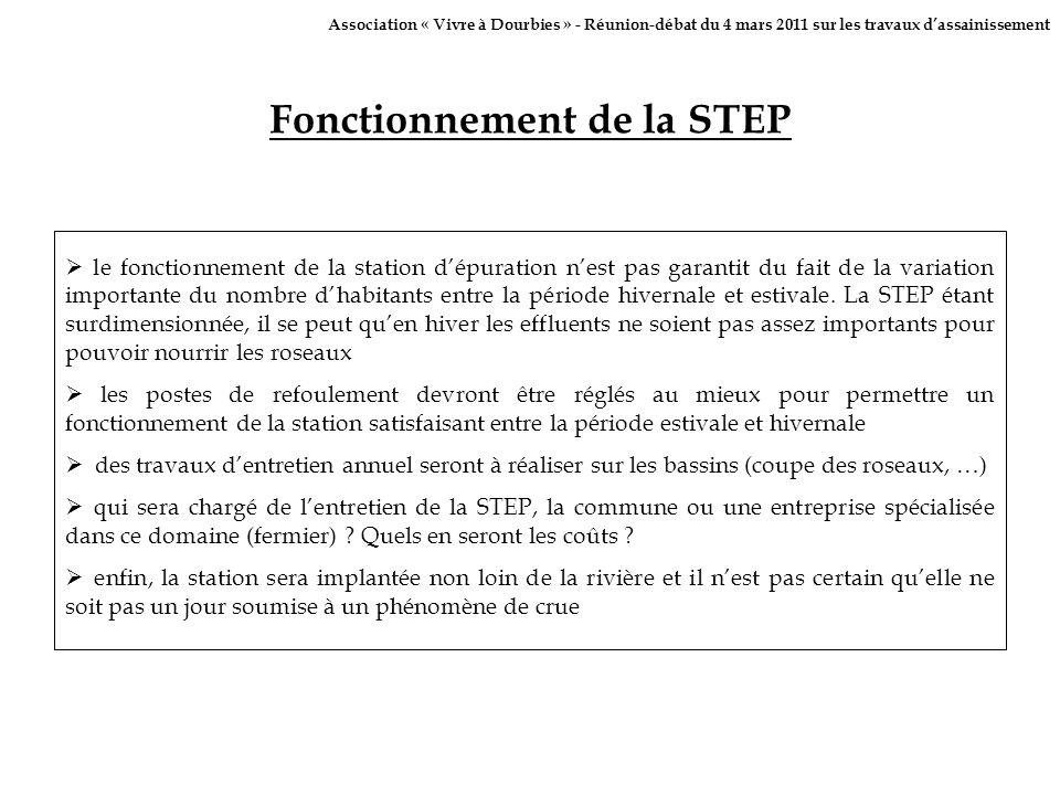 Fonctionnement de la STEP le fonctionnement de la station dépuration nest pas garantit du fait de la variation importante du nombre dhabitants entre l