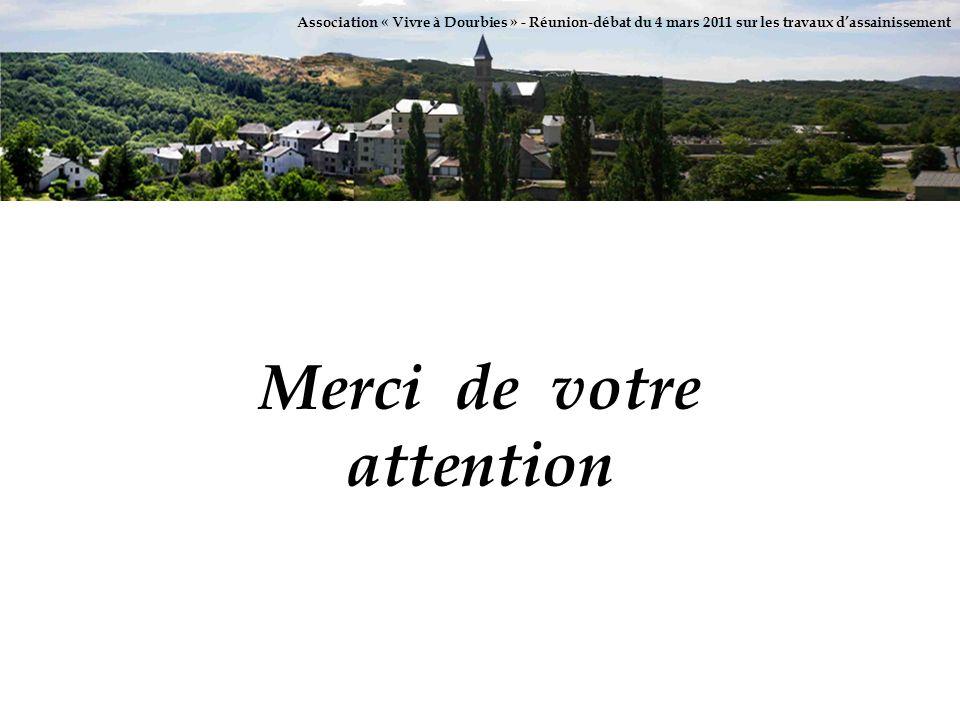 Association « Vivre à Dourbies » - Réunion-débat du 4 mars 2011 sur les travaux dassainissement Merci de votre attention