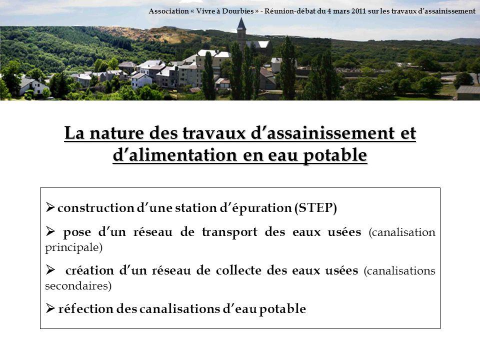 Association « Vivre à Dourbies » - Réunion-débat du 4 mars 2011 sur les travaux dassainissement La nature des travaux dassainissement et dalimentation