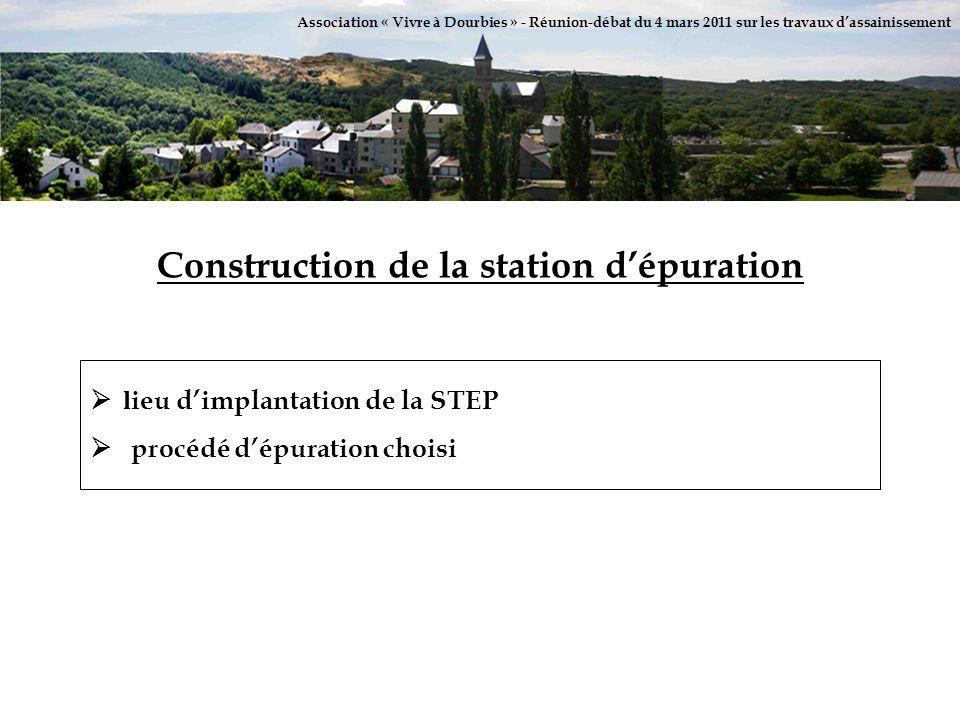 Association « Vivre à Dourbies » - Réunion-débat du 4 mars 2011 sur les travaux dassainissement Construction de la station dépuration l ieu dimplantat