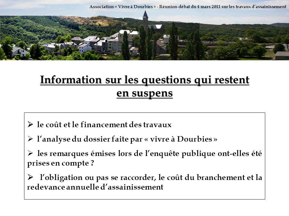 Association « Vivre à Dourbies » - Réunion-débat du 4 mars 2011 sur les travaux dassainissement Information sur les questions qui restent en suspens l