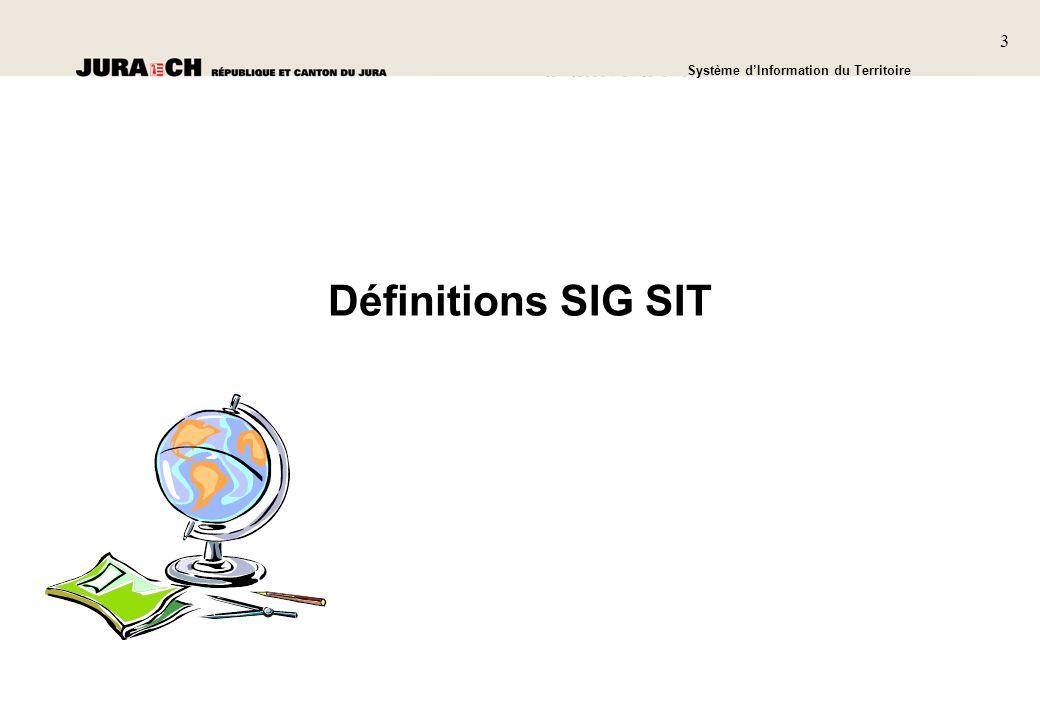 3 SIT Présentation générale Système dInformation du Territoire 3 Définitions SIG SIT