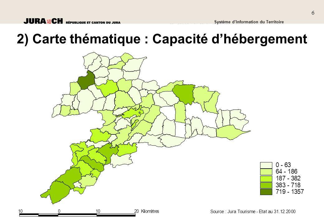 6 SIT Présentation générale Système dInformation du Territoire 6 1001020Kilomètres 0 - 63 64 - 186 187 - 382 383 - 718 719 - 1357 Source : Jura Tourisme - Etat au 31.12.2000 2) Carte thématique : Capacité dhébergement