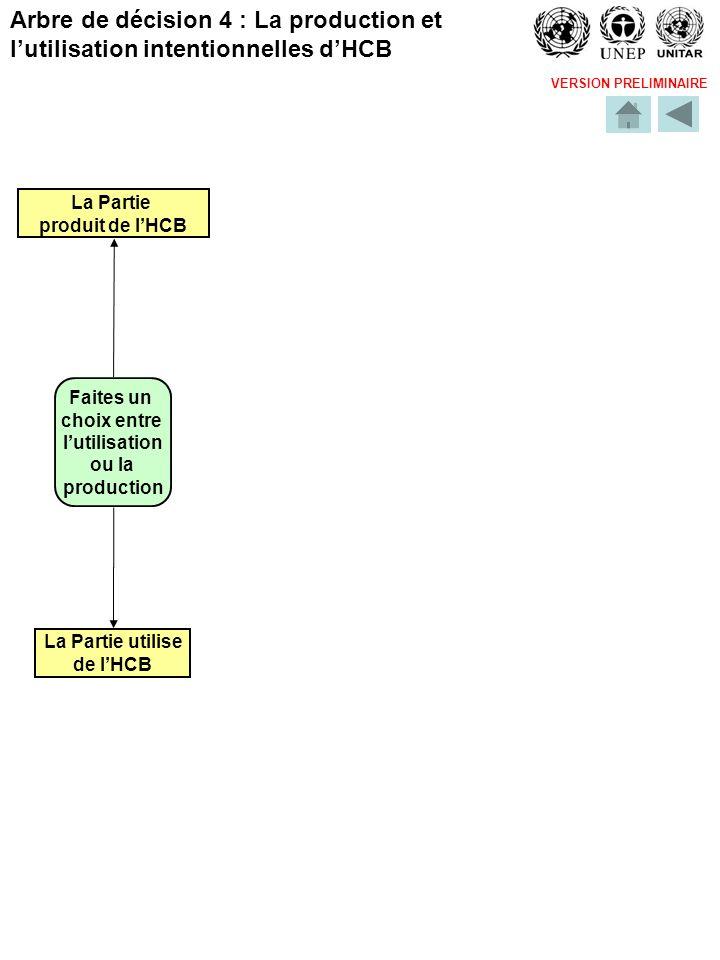 VERSION PRELIMINAIRE Faites un choix entre lutilisation ou la production La Partie utilise de lHCB La Partie produit de lHCB Arbre de décision 4 : La production et lutilisation intentionnelles dHCB