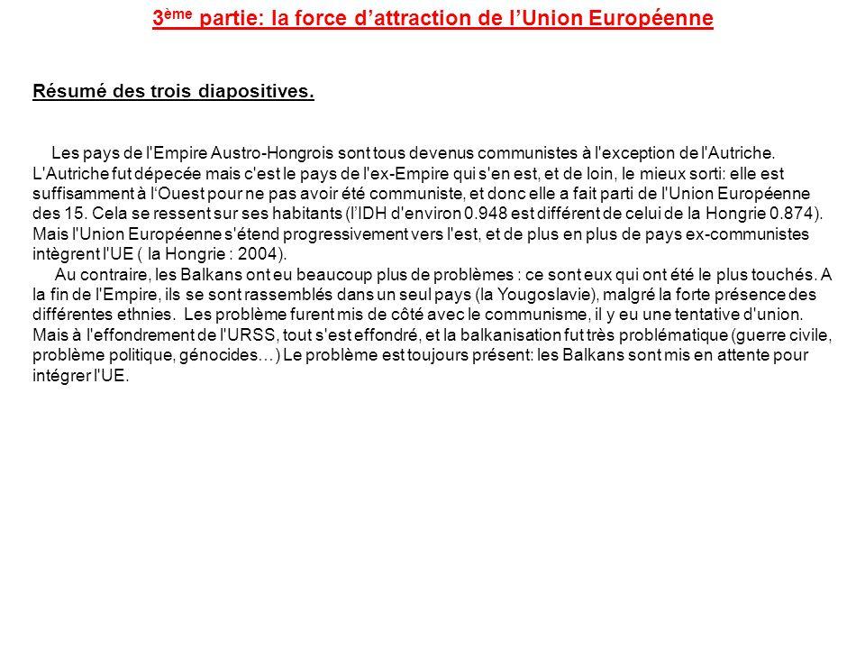 3 ème partie: la force dattraction de lUnion Européenne Résumé des trois diapositives. Les pays de l'Empire Austro-Hongrois sont tous devenus communis