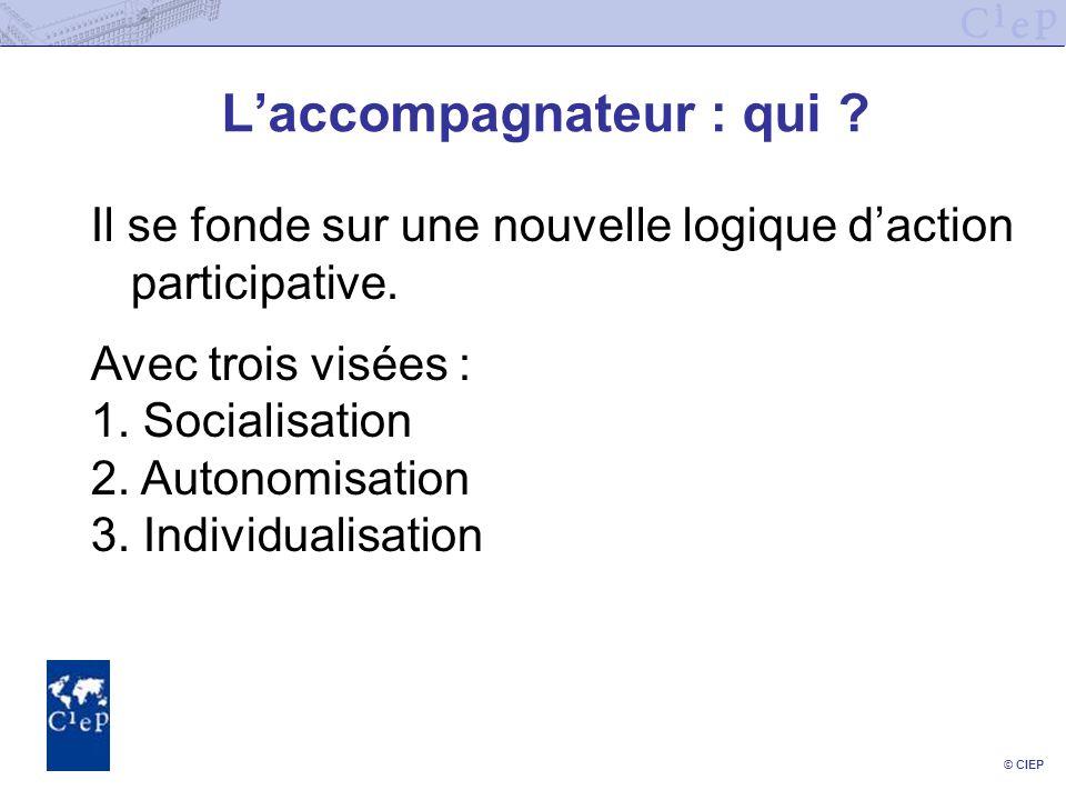 © CIEP Laccompagnateur : qui . Il se fonde sur une nouvelle logique daction participative.