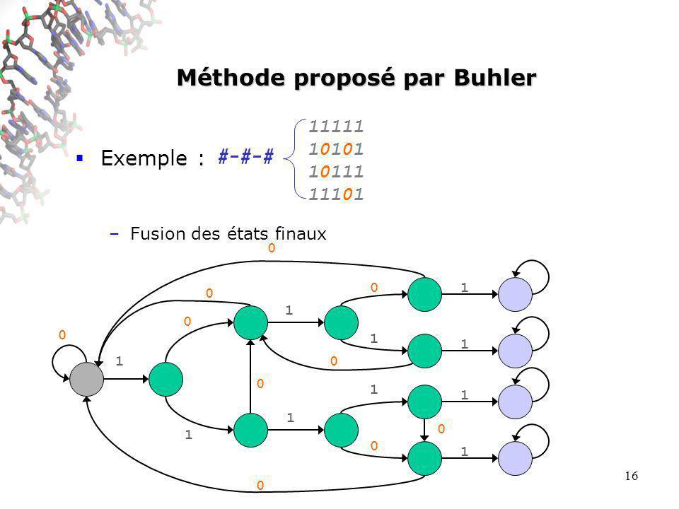 16 Méthode proposé par Buhler Exemple : –Fusion des états finaux #-#-# 0 0 0 0 0 0 0 1 0 1 1 1 0 1 1 0 1 1 1 1 11111 10101 10111 11101