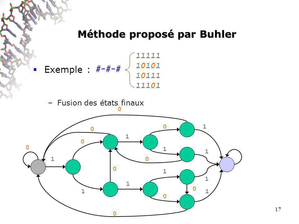 17 Méthode proposé par Buhler Exemple : –Fusion des états finaux #-#-# 11111 10101 10111 11101 0 0 0 0 0 0 0 1 0 1 1 1 0 1 1 0 1 1 1 1