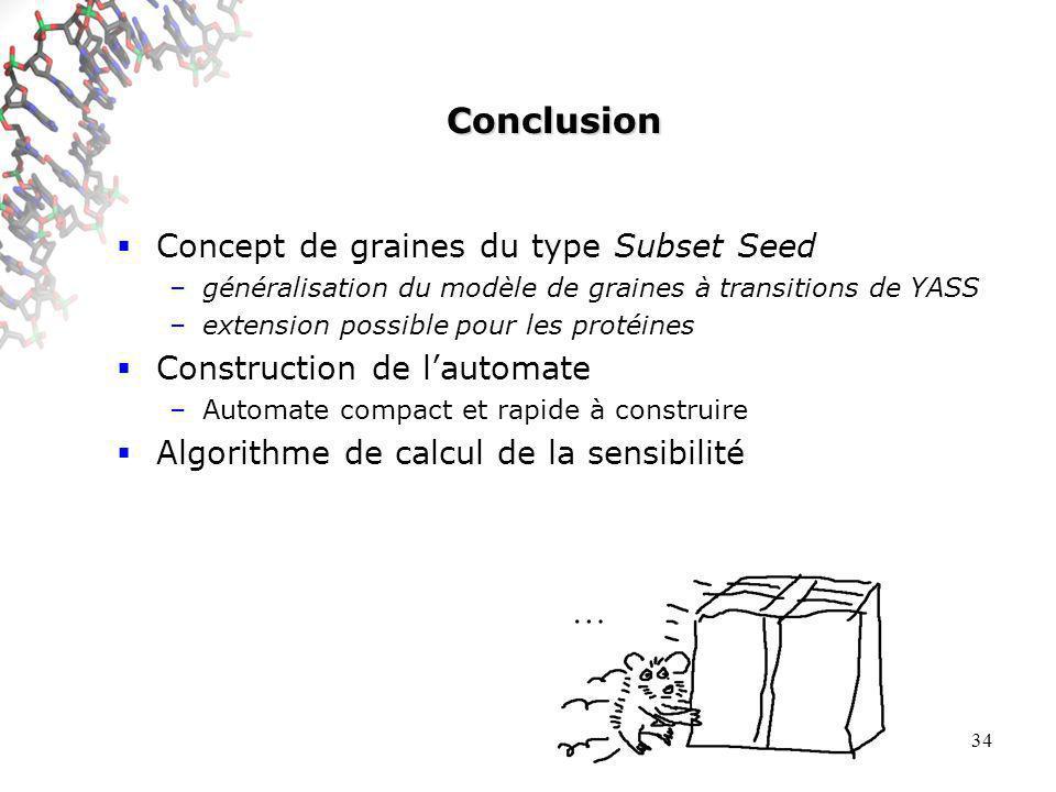 34 Conclusion Concept de graines du type Subset Seed –généralisation du modèle de graines à transitions de YASS –extension possible pour les protéines Construction de lautomate –Automate compact et rapide à construire Algorithme de calcul de la sensibilité …