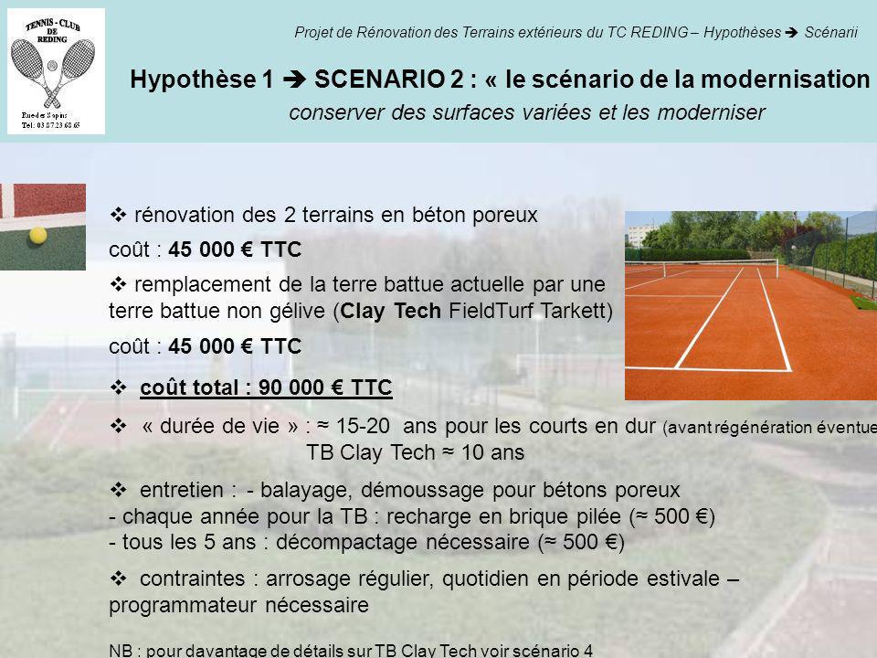 Hypothèse 1 SCENARIO 2 : « le scénario de la modernisation » conserver des surfaces variées et les moderniser Projet de Rénovation des Terrains extéri