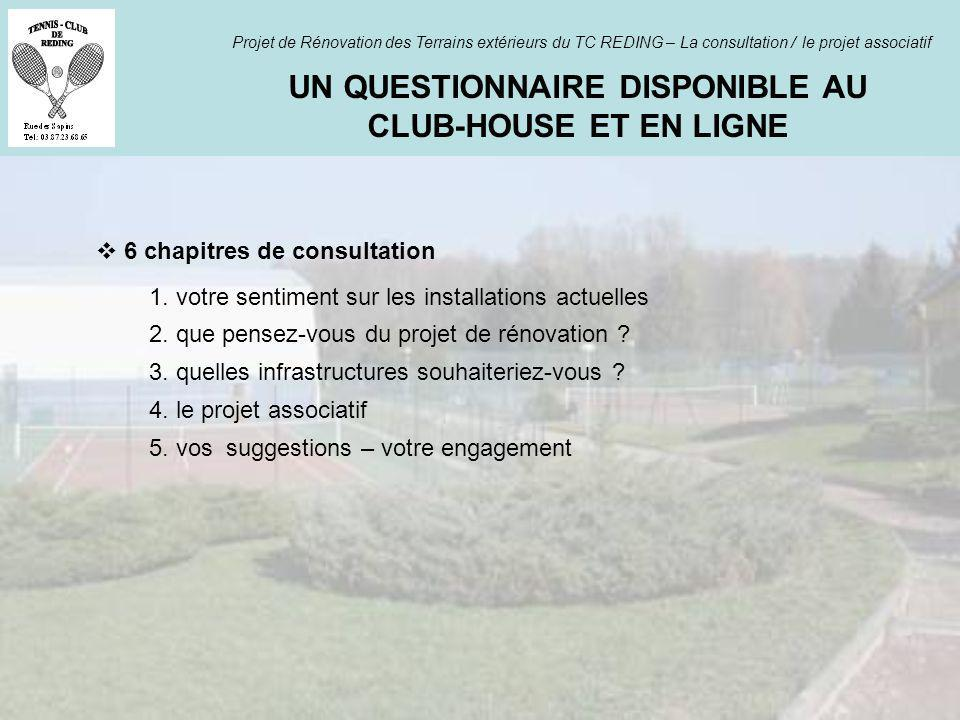 UN QUESTIONNAIRE DISPONIBLE AU CLUB-HOUSE ET EN LIGNE Projet de Rénovation des Terrains extérieurs du TC REDING – La consultation / le projet associat