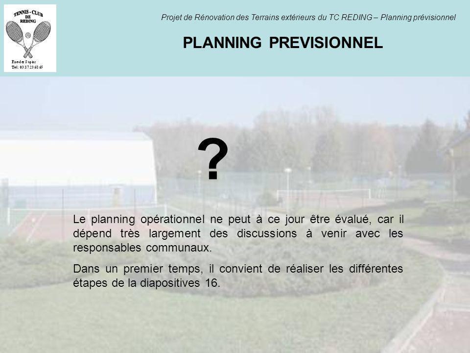 PLANNING PREVISIONNEL Projet de Rénovation des Terrains extérieurs du TC REDING – Planning prévisionnel ? Le planning opérationnel ne peut à ce jour ê