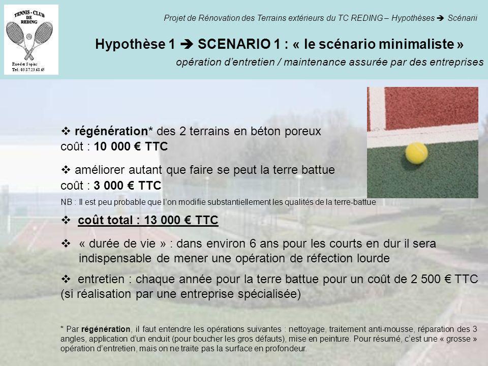 Hypothèse 1 SCENARIO 1 : « le scénario minimaliste » opération dentretien / maintenance assurée par des entreprises Projet de Rénovation des Terrains