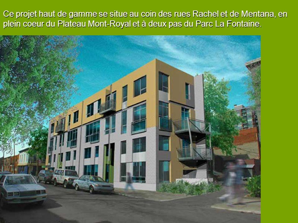 Ce projet haut de gamme se situe au coin des rues Rachel et de Mentana, en plein coeur du Plateau Mont-Royal et à deux pas du Parc La Fontaine.
