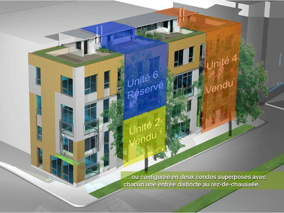 …ou configurée en deux condos superposés avec chacun une entrée distincte au rez-de-chaussée.