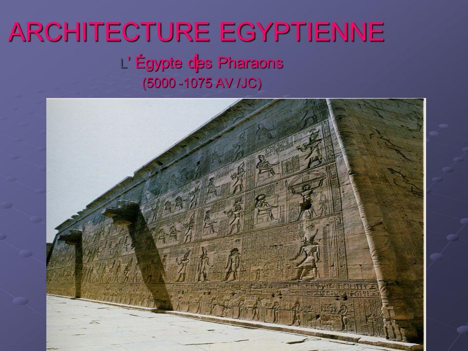 ARCHITECTURE EGYPTIENNE l L Égypte des Pharaons (5000 -1075 AV /JC)