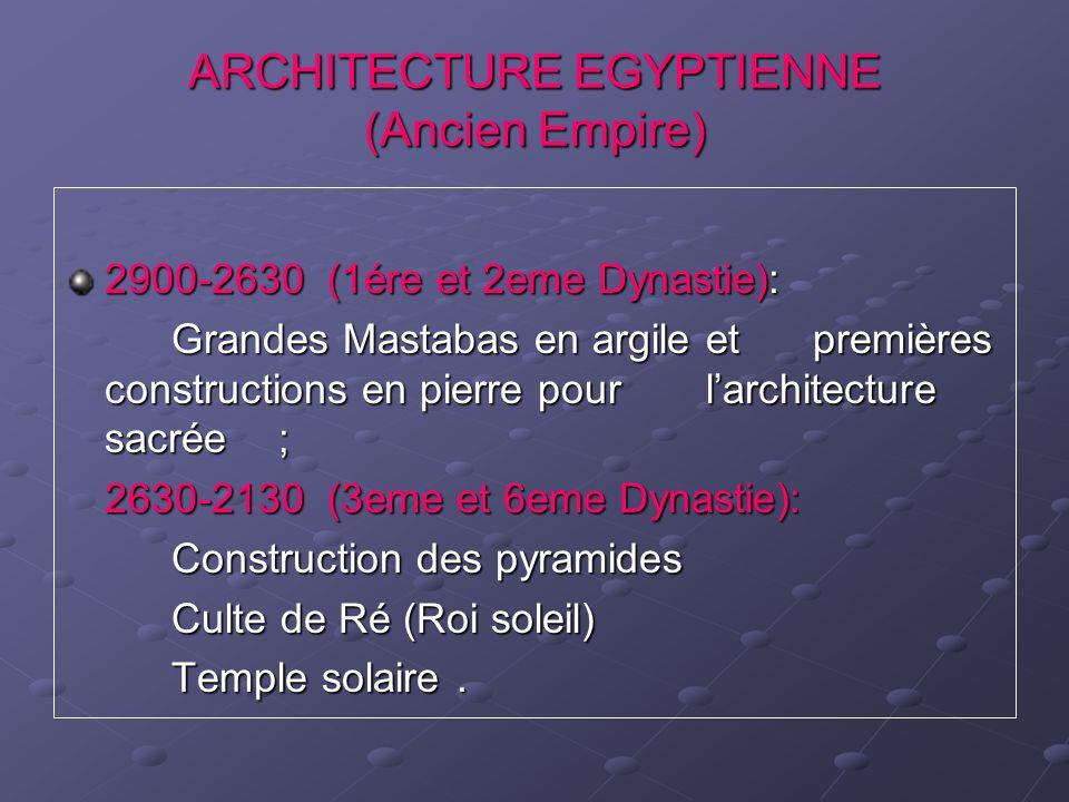 ARCHITECTURE EGYPTIENNE (Ancien Empire) 2900-2630 (1ére et 2eme Dynastie): Grandes Mastabas en argile et premières constructions en pierre pour larchi