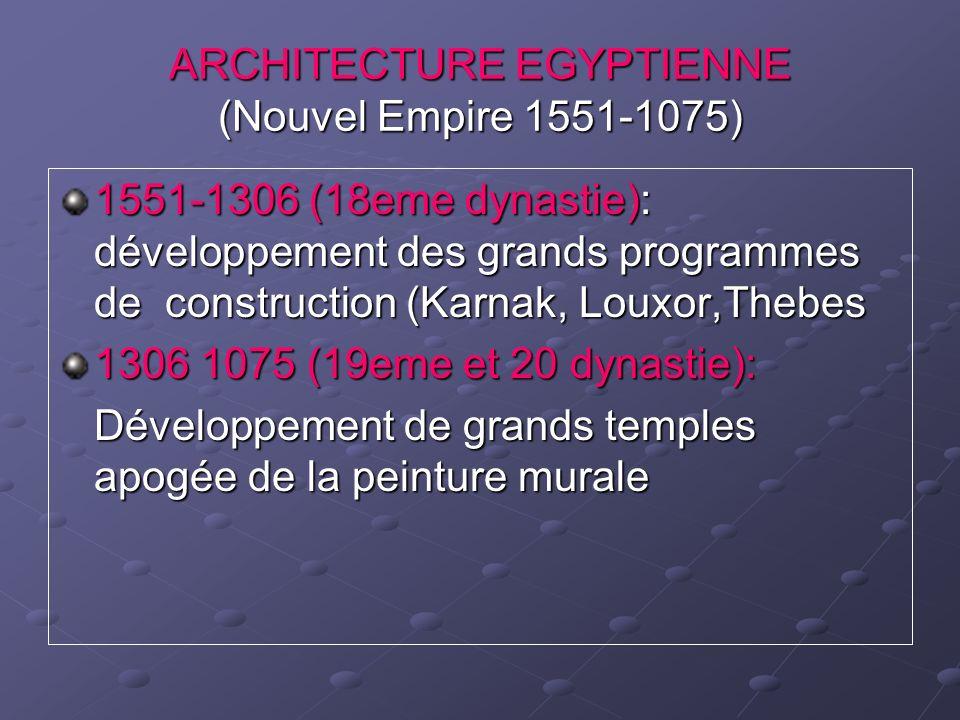 ARCHITECTURE EGYPTIENNE (Nouvel Empire 1551-1075) 1551-1306 (18eme dynastie): développement des grands programmes de construction (Karnak, Louxor,Theb