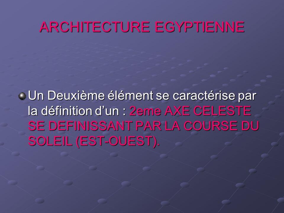 ARCHITECTURE EGYPTIENNE Un Deuxième élément se caractérise par la définition dun : 2eme AXE CELESTE SE DEFINISSANT PAR LA COURSE DU SOLEIL (EST-OUEST)