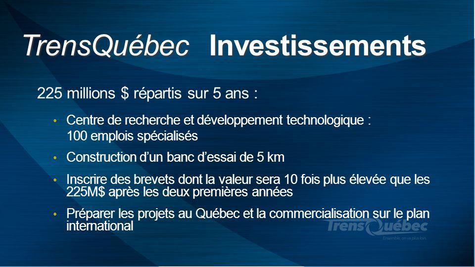 TrensQuébec Investissements 225 millions $ répartis sur 5 ans : Centre de recherche et développement technologique : 100 emplois spécialisés Construct