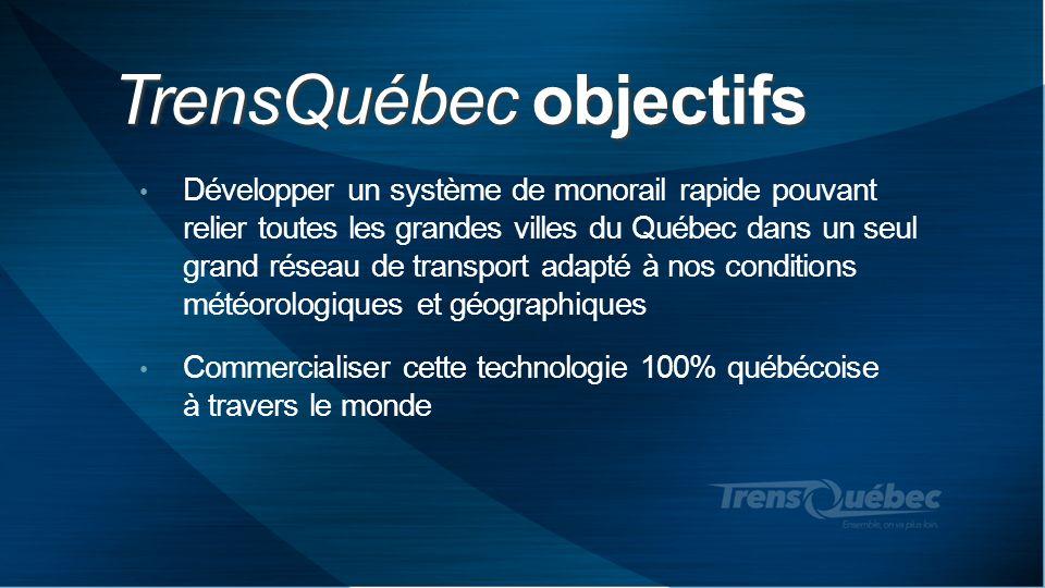 TrensQuébec objectifs Développer un système de monorail rapide pouvant relier toutes les grandes villes du Québec dans un seul grand réseau de transpo