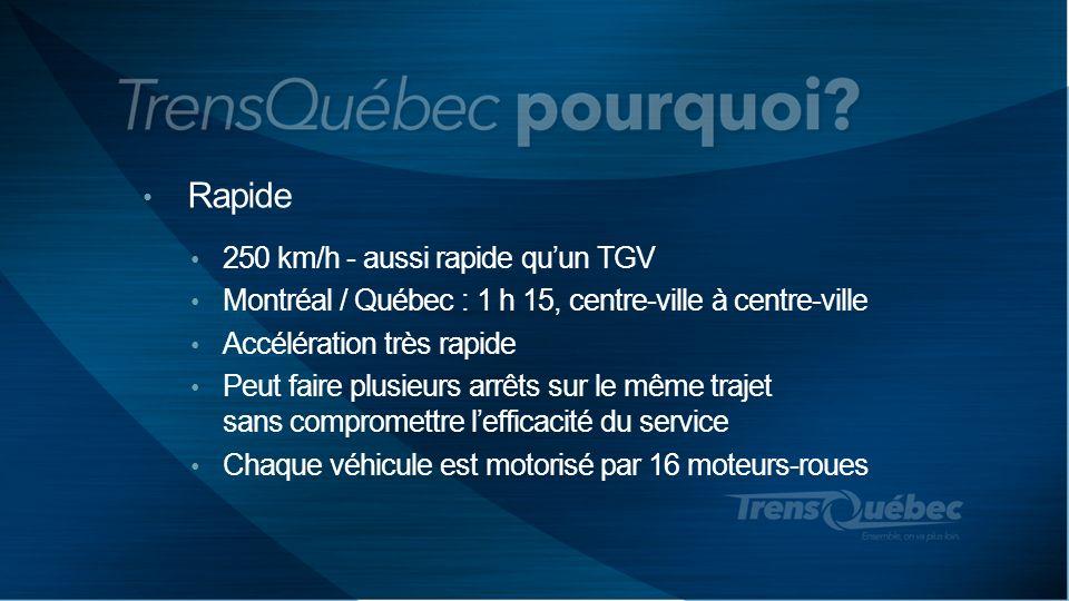 Rapide 250 km/h - aussi rapide quun TGV Montréal / Québec : 1 h 15, centre-ville à centre-ville Accélération très rapide Peut faire plusieurs arrêts s