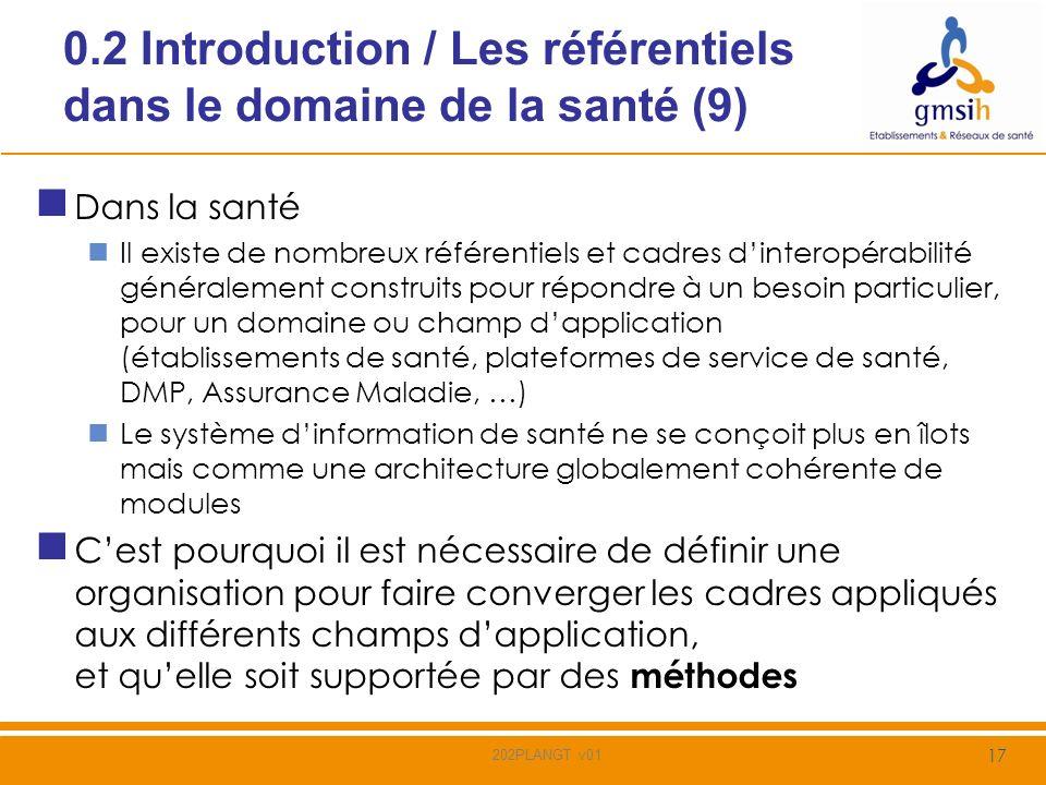 0.2 Introduction / Les référentiels dans le domaine de la santé (10) Pré-requis à la définition de référentiels Mettre en place des forums permettant des échanges et assurant le consensus dans le choix des référentiels et de leur pertinence Définir ou connaitre les processus et les architectures qui utiliseront les référentiels définis Mettre en place une expertise reconnue dans le domaine de la santé 18 202PLANGT v01