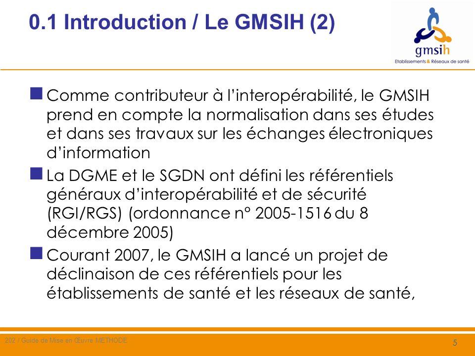 0.1 Introduction / Le GMSIH (3) Courant 2008, le GMSIH a prolongé le projet de 2007 avec les objectifs suivants poursuivre les travaux entrepris en 2007, en appliquant la méthode définie alors pour élaborer des référentiels de sécurité susceptibles dêtre appliqués par les ES et les réseaux de santé valider définitivement la méthode tout en laffinant par sa mise en pratique sur un cas concret et réaliste 6 202 / Guide de Mise en Œuvre METHODE