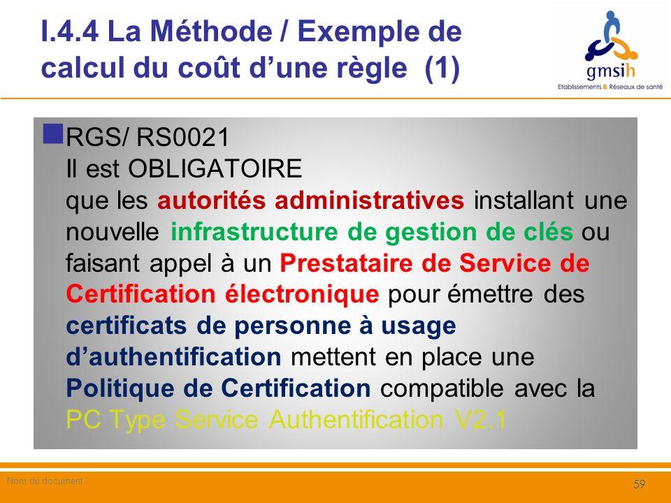 I.4.4 La Méthode / Exemple de calcul du coût dune règle (2) Dans cet exemple, on se positionne comme un organisme de santé (ex.