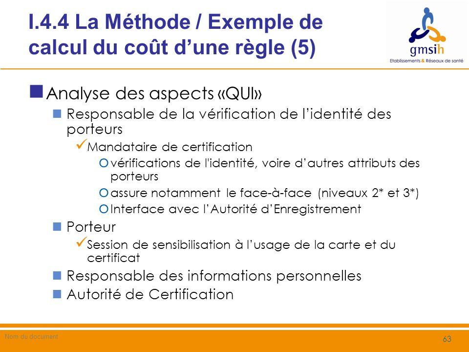 I.4.5 La méthode / Résultats de lAnalyse du Référentiel (1) A lissue de lanalyse des référentiels Les référentiels sont analysés Les concepts présents dans les règles sont identifiés pour chaque niveau dabstraction Les règles sont caractérisées selon Les différents niveaux dabstraction Les concepts Le niveau de recommandation de la règle o Réglementaire / Normatif o Obligatoire / Optionnel / Déconseillé / Interdit (RFC2119) 64 202 / Guide de Mise en Œuvre METHODE