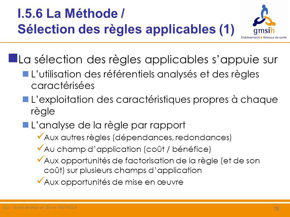 I.5.6 La Méthode / Sélection des règles applicables (2) Exploitation des caractéristiques propres à chaque règle Les concepts ciblés par la règle et le niveau dabstraction considéré sont-ils cohérents avec ceux du champ dapplication .