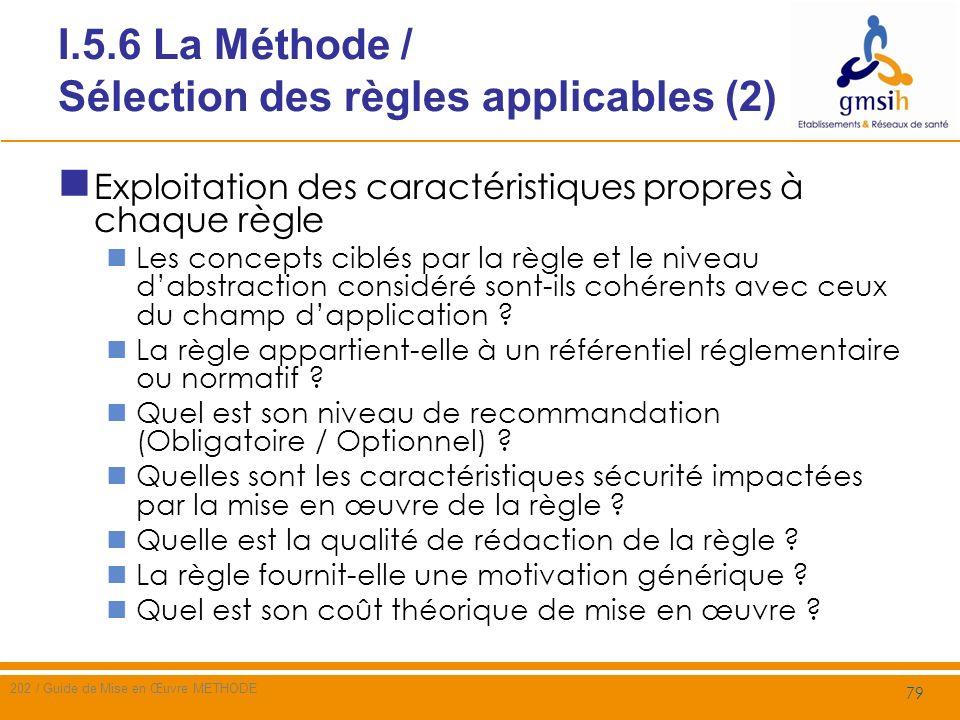 I.5.6 La Méthode / Sélection des règles applicables Nom du document 80 Construction de largumentation sur la règle 1/ Lister les règles des référentiels correspondants aux CONCEPTS des objectifs 2/ Caractéristiques intrinsèques de la règle Réglementaire / Normatif * Obligatoire / Optionnel Niveau dAbstraction DICA Qualité de la règle Existence dune motivation Coût de la règle 3/ Intérêt de la règle par rapport Autres Règles : redondance / dépendance Au champ dapplication : bénéfice attendu / motivation pour le champ À tous les champs dapplication concernés (possibilité de factorisation) Opportunité Base de connaissance des référentiels