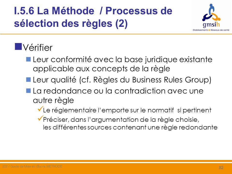 I.5.6 La Méthode / Processus de sélection des règles (3) Selon une démarche similaire à celle de lestimation du coût de mise en œuvre de la règle, identifier les moyens nécessaires pour sa mise en œuvre les limites de la mise en œuvre QUI : Responsabilités, Organisation, moyens humains QUOI : Ressources matérielles COMMENT : disponibilité des moyens (maturité technique), méthodes, outils Quand o Satisfaction des pré-requis, o Stabilité dans le temps et lespace de la règle et du Champ dapplication Où : Périmètre géographique, organisationnel, fonctionnel Pourquoi (motivation) Compatibilité avec la base juridique existante applicable aux concepts cités dans la règle 83 Nom du document