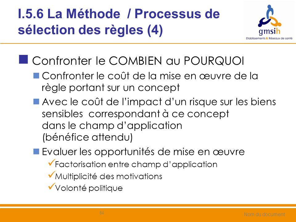 I.5.6 La Méthode / Processus de sélection des règles (5) Confronter le coût de mise en œuvre de la règle aux bénéfices pour le concept sensible 85 202 / Guide de Mise en Œuvre METHODE 2/ Champ dapplication 1/ Référentiels Coût dune attaque sur le bien / concept Analyse de limpact de la règle Coût de mise en œuvre 3/ Avis objectif Analyse de risques sur le champ 4/ Opportunité 5/ Décision