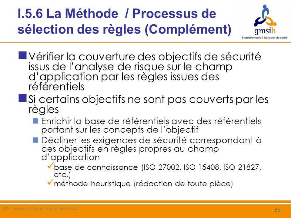 I.5.6 La Méthode / Processus de sélection des règles (Complément) Exemple les objectifs de qualité de construction des logiciels pour limiter les dysfonctionnements et assurer la disponibilité et lintégrité du service, ne sont actuellement couverts par aucune règle issus des référentiels analysés Les exigences correspondantes pourraient être Mettre en place un processus formalisé de gestion de configuration sur [les composants système intervenant dans le champ dapplication] (ISO 27002, ISO 20000, ISO 9001, CMMI) Mettre en œuvre les exigences dassurance sécurité décrites dans les critères communs (ex.