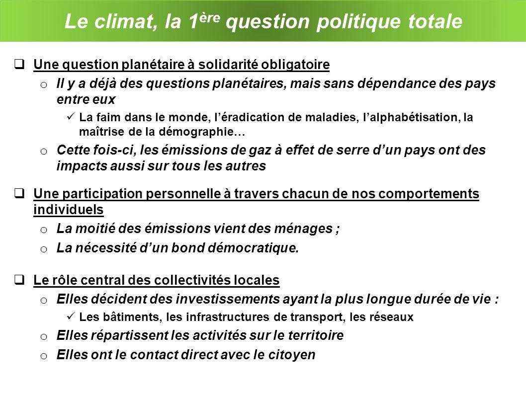 Le climat, la 1 ère question politique totale Une question planétaire à solidarité obligatoire o Il y a déjà des questions planétaires, mais sans dépe