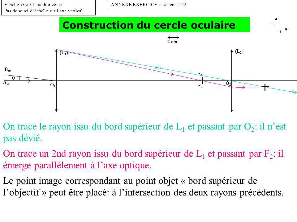 (L 1 ) O1O1 B A ANNEXE EXERCICE I : schéma n°2 + + Échelle ½ sur laxe horizontal Pas de souci déchelle sur laxe vertical 2 cm (L 2 ) O2O2 F1 F2F1 F2 Construction du cercle oculaire On trace le rayon issu du bord inférieur de L 1 et passant par O 2 : il nest pas dévié.