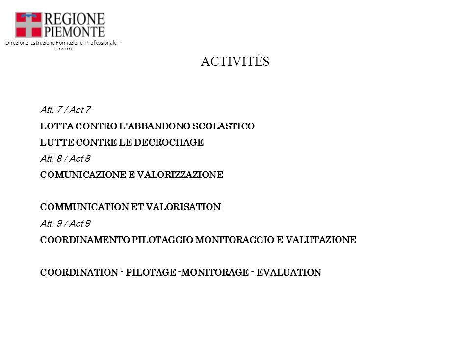 ACTIVITÉS Att. 7 / Act 7 LOTTA CONTRO L ABBANDONO SCOLASTICO LUTTE CONTRE LE DECROCHAGE Att.