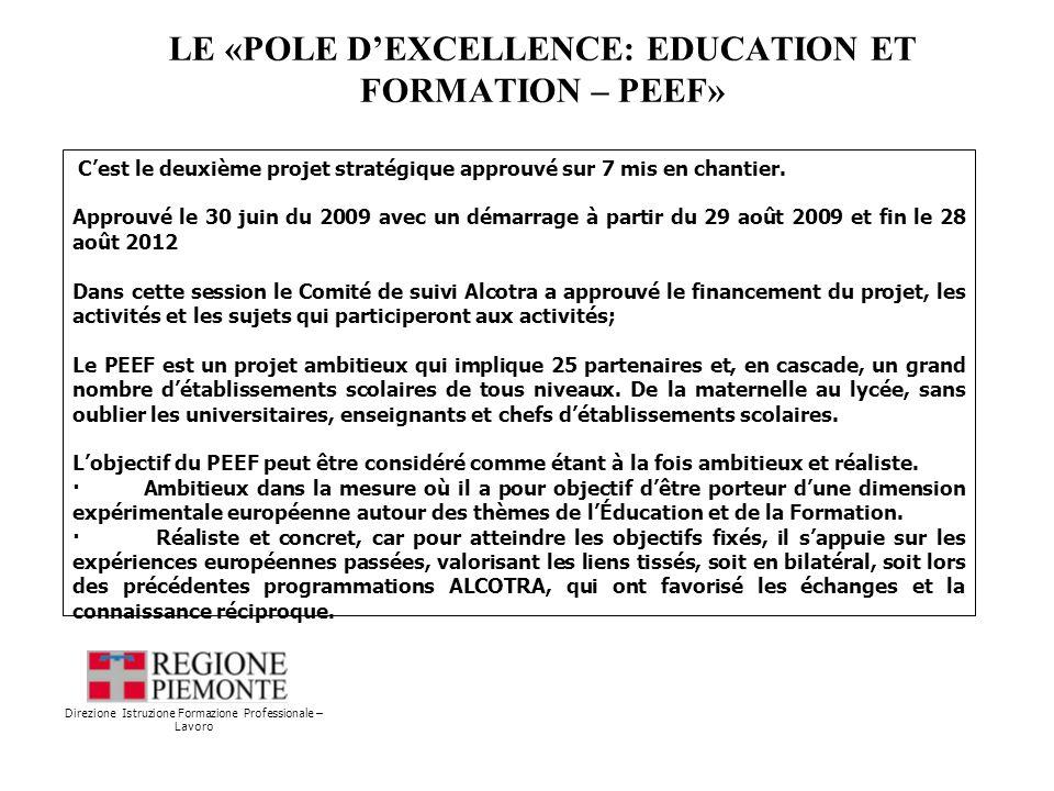 LE «POLE DEXCELLENCE: EDUCATION ET FORMATION – PEEF» Direzione Istruzione Formazione Professionale – Lavoro Cest le deuxième projet stratégique approuvé sur 7 mis en chantier.