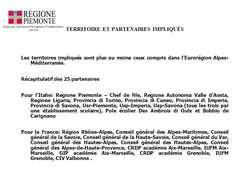 TERRITOIRE ET PARTENAIRES IMPLIQUÉS Les territoires impliqués sont plus ou moins ceux compris dans lEurorégion Alpes- Méditerranée.