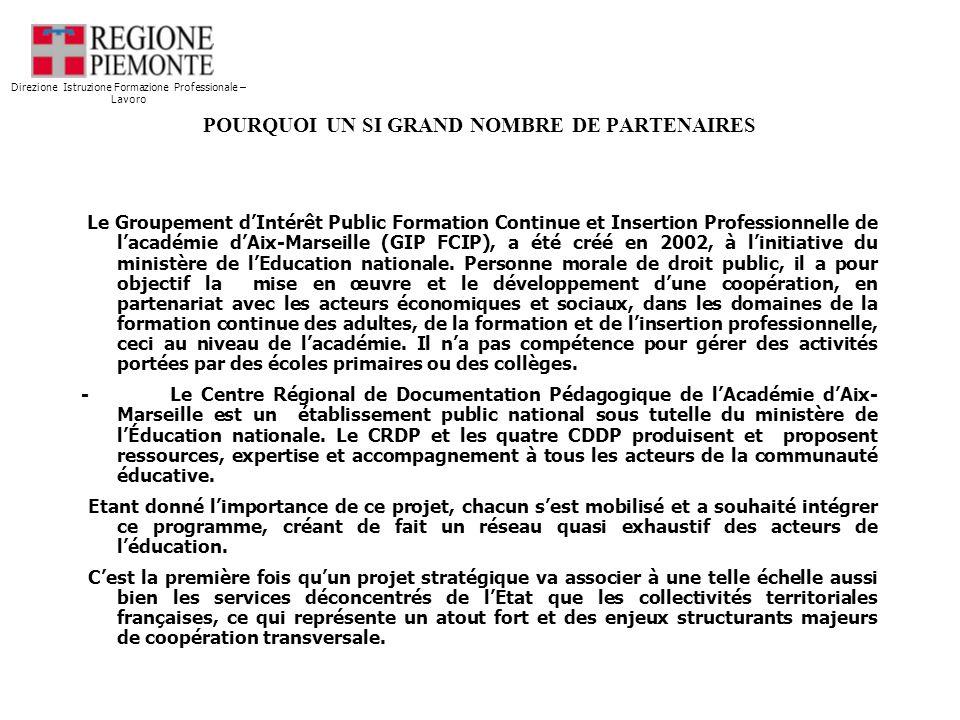POURQUOI UN SI GRAND NOMBRE DE PARTENAIRES Jusquà présent, chaque académie collaborait, à léchelon local, avec les collectivités territoriales de son secteur.