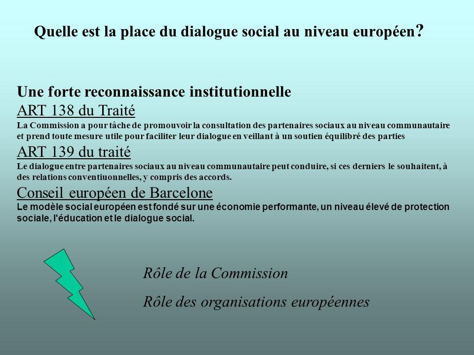 Quelle est la place du dialogue social au niveau européen .