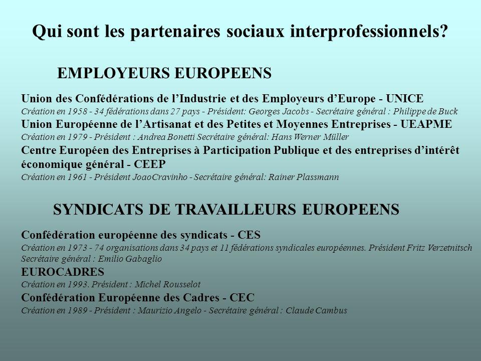 Qui sont les partenaires sociaux interprofessionnels.