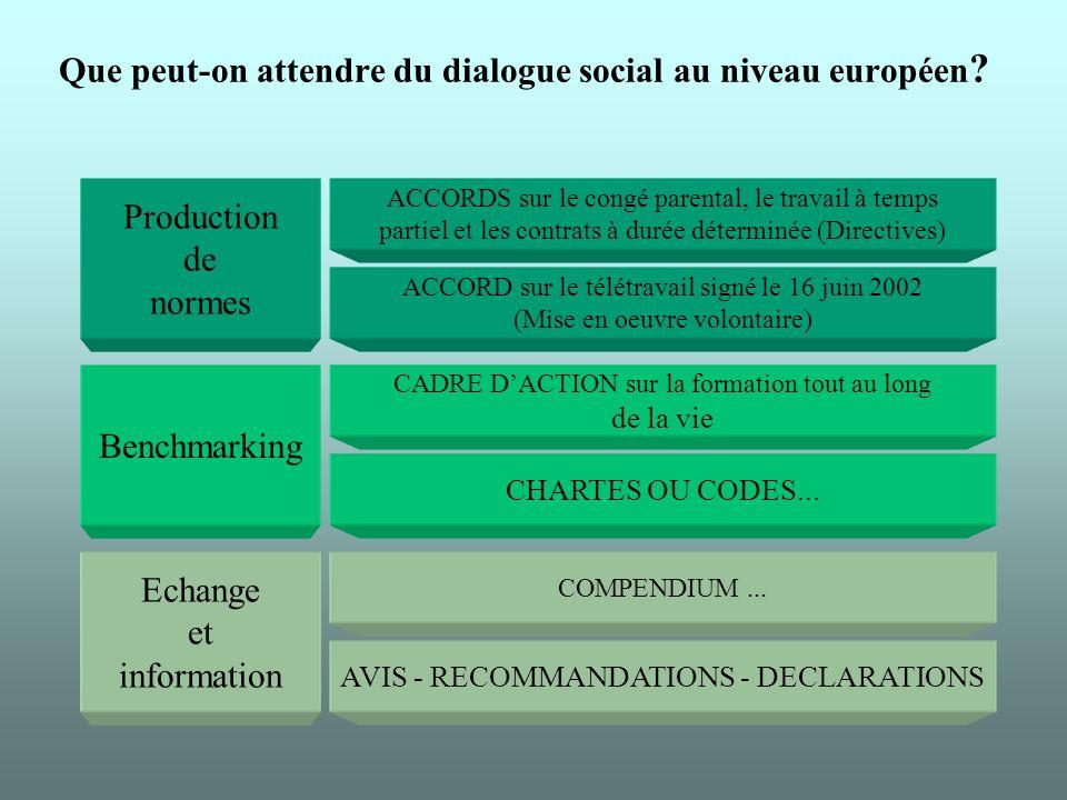 Que peut-on attendre du dialogue social au niveau européen .