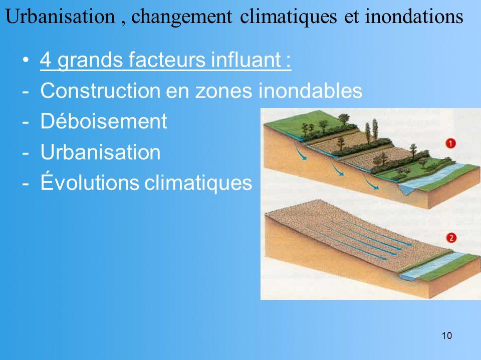 10 4 grands facteurs influant : -Construction en zones inondables -Déboisement -Urbanisation -Évolutions climatiques Urbanisation, changement climatiq