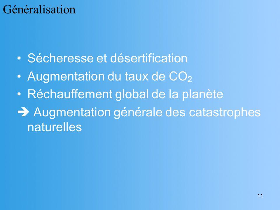 11 Sécheresse et désertification Augmentation du taux de CO 2 Réchauffement global de la planète Augmentation générale des catastrophes naturelles Gén