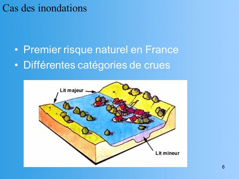 6 Premier risque naturel en France Différentes catégories de crues Cas des inondations