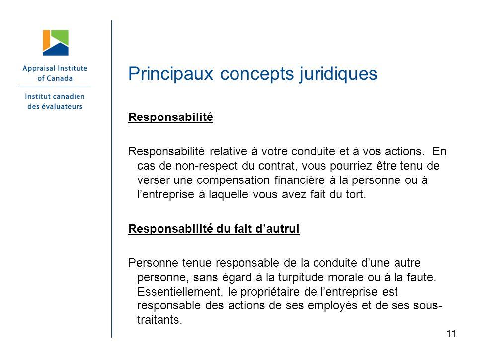 11 Principaux concepts juridiques Responsabilité Responsabilité relative à votre conduite et à vos actions. En cas de non-respect du contrat, vous pou