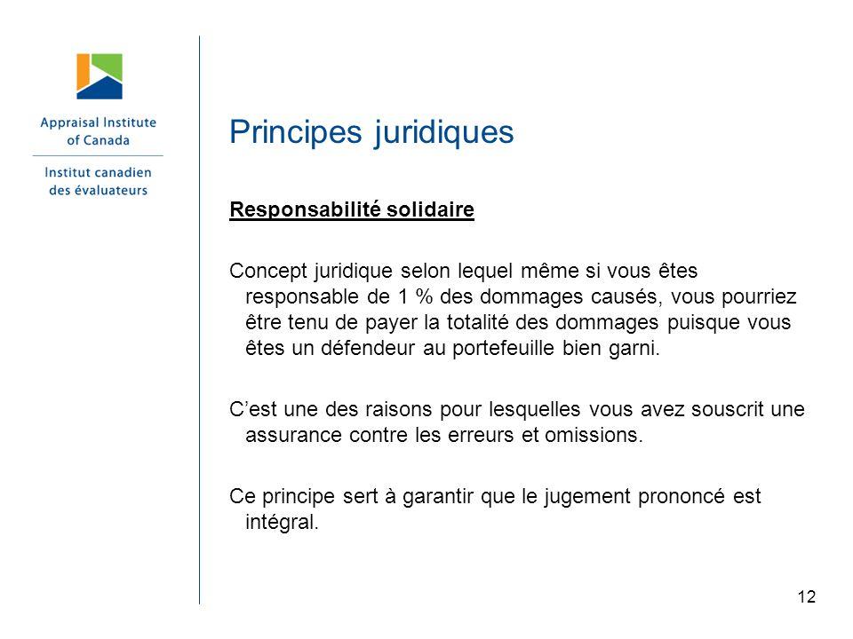 12 Principes juridiques Responsabilité solidaire Concept juridique selon lequel même si vous êtes responsable de 1 % des dommages causés, vous pourrie